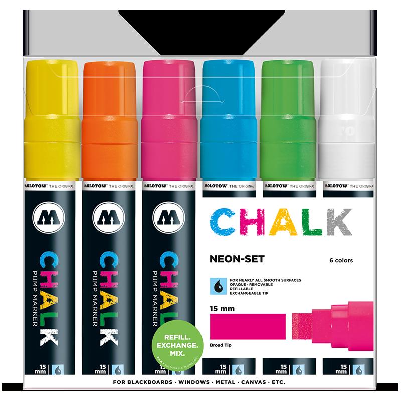 Sada fixiek Chalk  Neon-Set (15 mm)