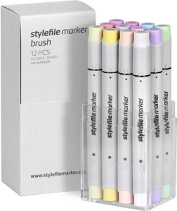Stylefile Marker Brush 12 pcs set Pastell