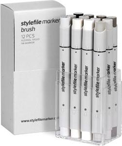 Stylefile Marker Brush 12er Set warm Grey