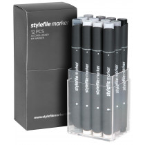 STYLEFILEMARKER 12 neutral grey set
