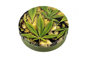 "Plechová okrúhla krabička ""Cannabis"""