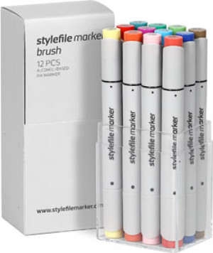 STYLEFILEMARKER 12 BRUSH MARKERS MAIN SKIN SET
