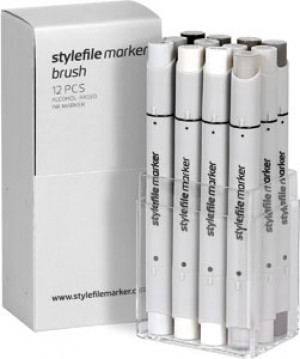 Stylefile Marker Brush 12er Set warm Grey
